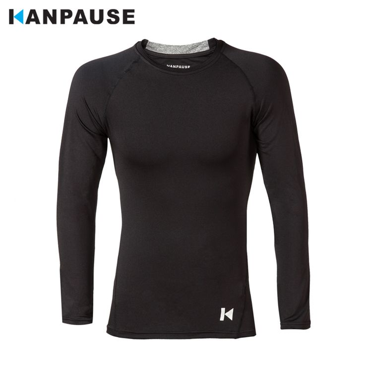 2016 KANPAUSE Men's Long Sleeve Compression Training T-shirt Running Tight T-shirt Sportswear free shipping