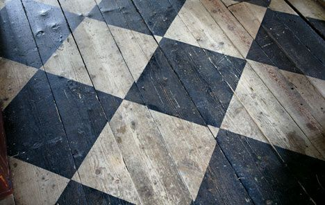 Painted patterns on wooden floors