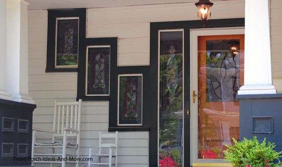 Like the window arrangement on this front porch. Would be fun to them from the interior. Found on PorchIdeas.com #porch