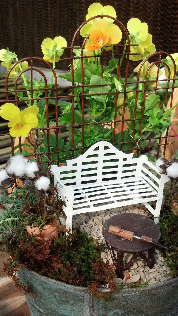 Table top fairy garden  mini garden  trellis and bench. 77 best images about Mini Garden Furniture on Pinterest   Vines
