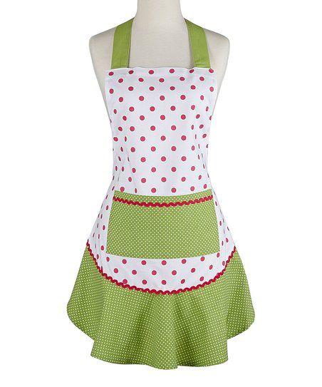 Design Imports Pink & Green Polka Dot Ruffle Apron | zulily
