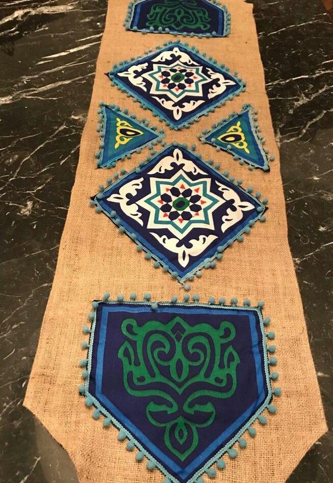 رانر رمضانى طوله حوالى 1 متر مصنوع من قماش الخيش و الخياميه Home Decor Decor Rugs