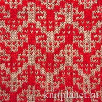 Жаккардовый узор спицами № 1. Для вязания этого нарядного жаккардового узора подойдет как тонкая, так и более толстая пряжа. Размер фрагмента (раппорта) при вязании пряжей 200 - 250 м / 100 г приблизительно 7,5  x 8,5 см.
