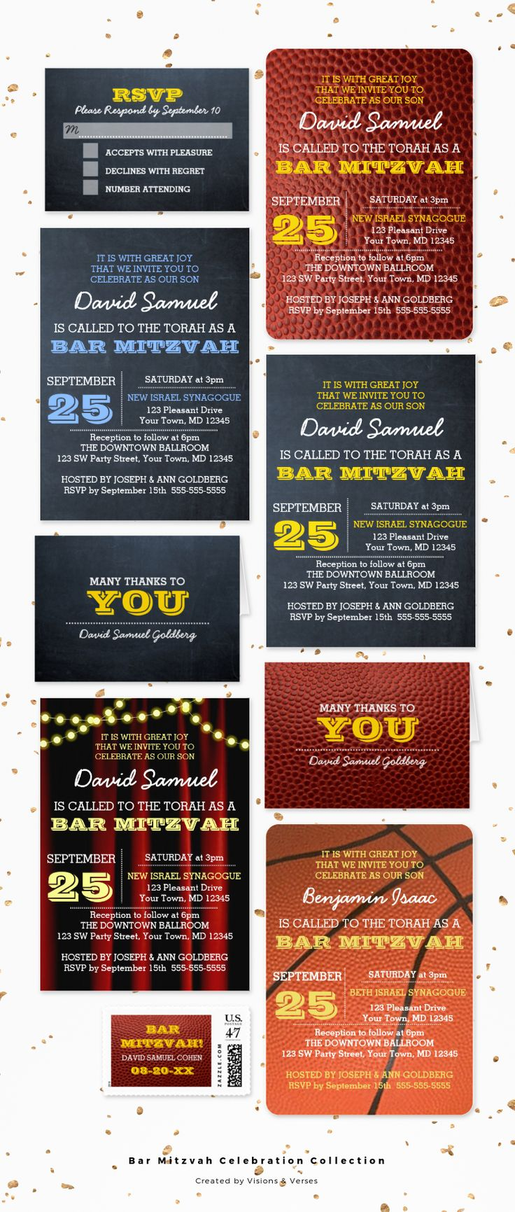 Bar Mitzvah invitations and coordinating stationary and party products for a celebration to remember!