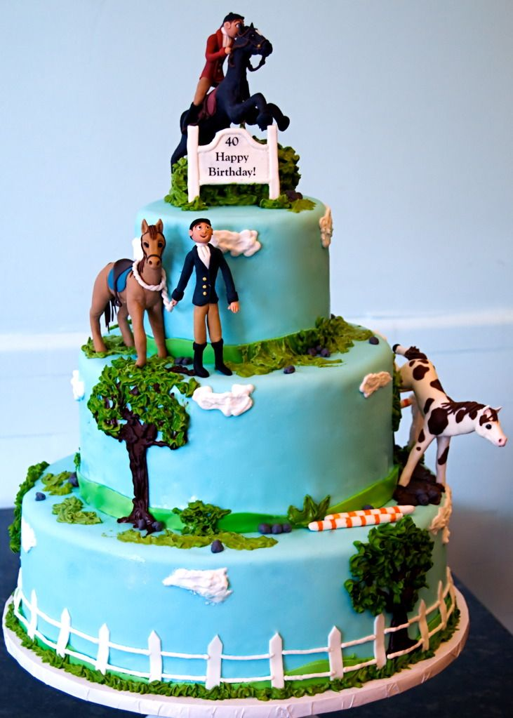 Blue Skies Ahead Lifelike Equestrian Birthday Cake