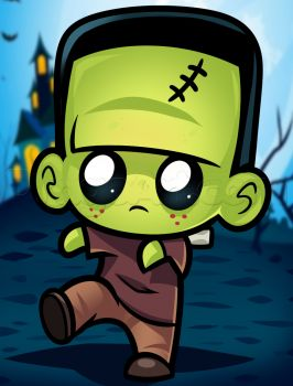 How to Draw Cute Frakenstein, Step by Step, Frankenstein, Monsters, FREE Online Drawing Tutorial, Added by Dawn, October 24, 2014, 9:48:50 am