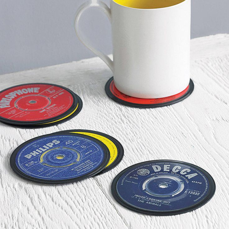 set of six vinyl 45 record coasters by vinyl village | notonthehighstreet.com