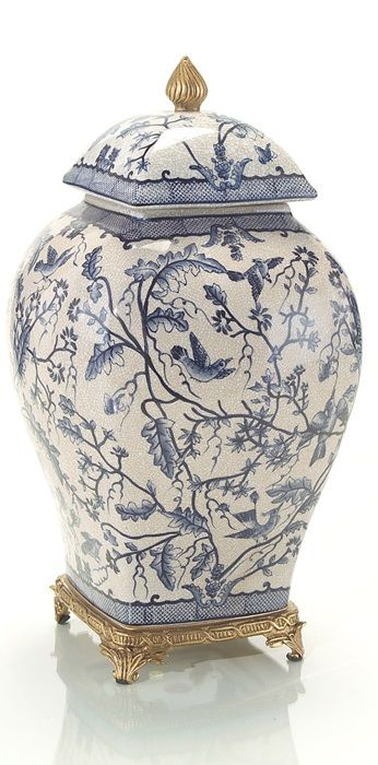 Chinese Blue & White Porcelain Temple Jar, from Jingdezhen China, Porcelain Capitol of the World.