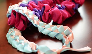 Step-by-step instructions on how to make ribbon leis