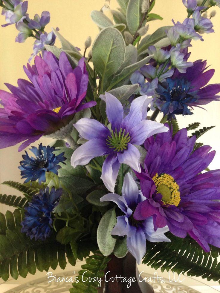 Large flower bouquet, large flower arrangement in tin vase, blue flower arrangement, floral centerpiece, Mother's Day gift, Anniversary gift by BsCozyCottageCrafts on Etsy