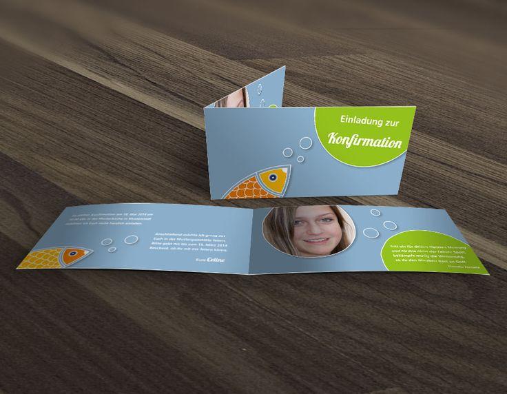 Schicke Einladungskarte zur Konfirmation oder Kommunion mit illustriertem Fisch und persönlichem Foto