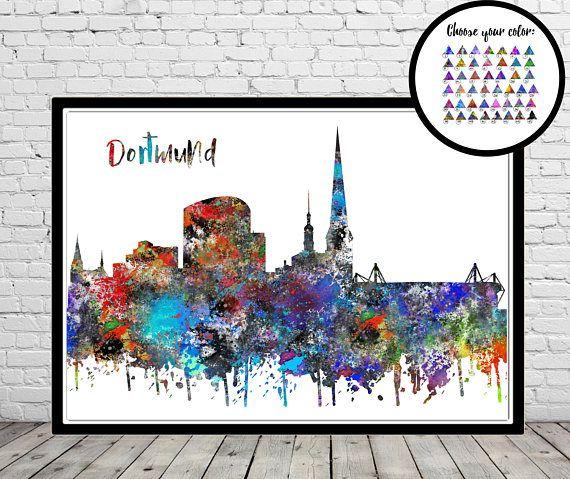 Dortmund Dortmund skyline Dortmund Germany watercolor