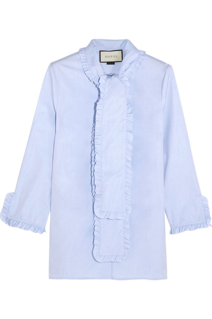 Light-blue cotton-poplin Button fastenings through front 100% cotton Dry clean Made in Italy