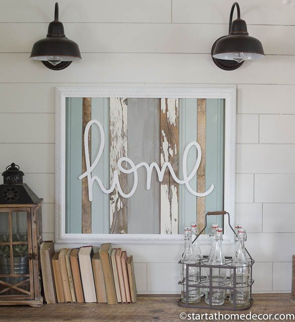 Reclaimed wood turquoise home sign by start at home decor | farmhouse decor | chippy | Barn Wood
