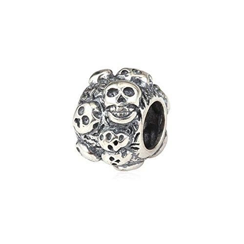 Skull Charm Bead - .925 Sterling Silver