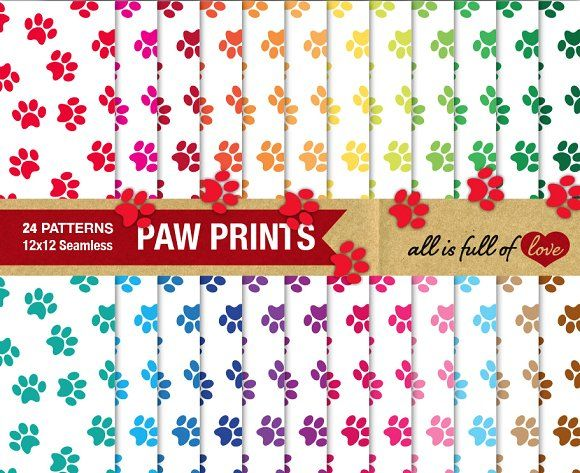 Paw Print Pattern Digital Paper Pack by All is full of Love on @creativemarket