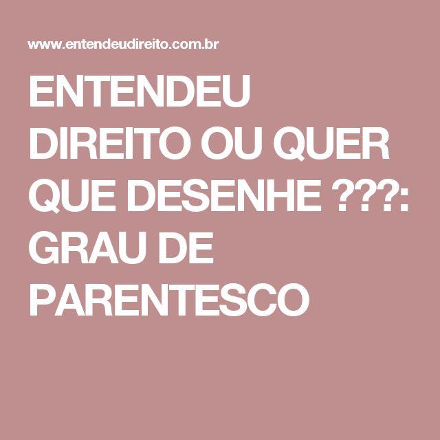 ENTENDEU DIREITO OU QUER QUE DESENHE  ???: GRAU DE PARENTESCO