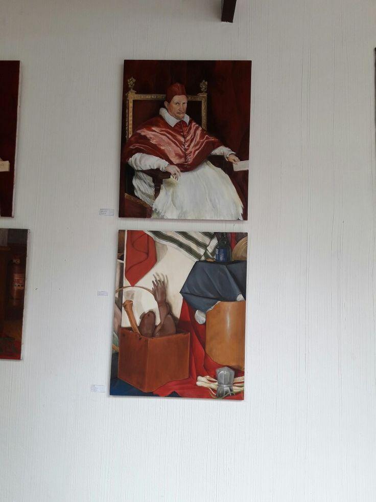 Copia de Inocencio X de Diego Velásquez y bodegón. Óleo sobre lienzo.