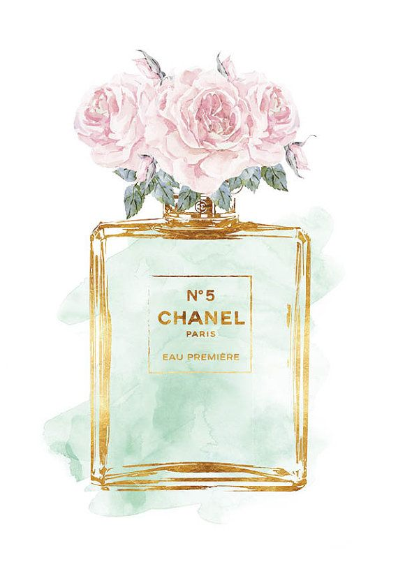 Chanel No5, Roses, Mint watercolor with Gold effect, Printed 8x10, Coco No5…