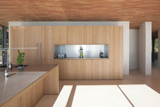 Trend Concrete and Glass Home with Main Level Wood Ceiling Ceiling Concrete and Interiors