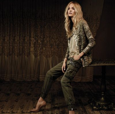 TWIN-SET Simona Barbieri, 2015/16 winter jeans collection: crew neck cardigan with asymmetric closure with gold laminate, viscose/cotton georgette top, cargo pants in textured flowing cotton with sequins and rhinestones and leather court shoes with set stones