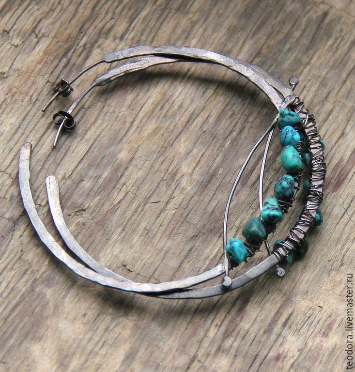Купить Серебряные серьги-кольца с зеленой бирюзой - темно-бирюзовый, серебряные серьги