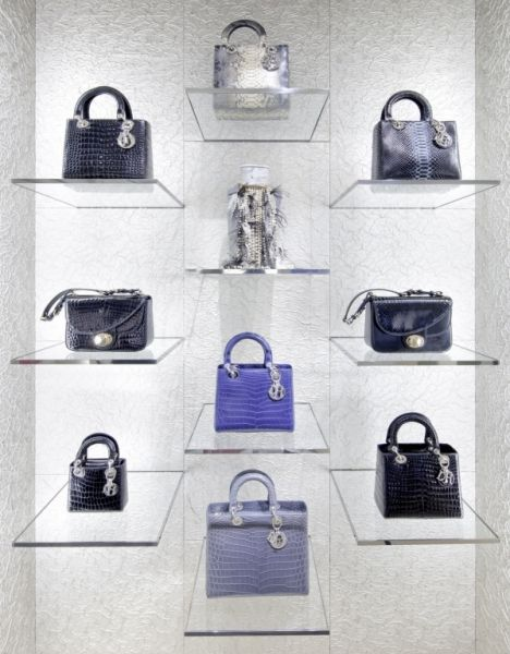 Christian Dior. Floating handbag display.