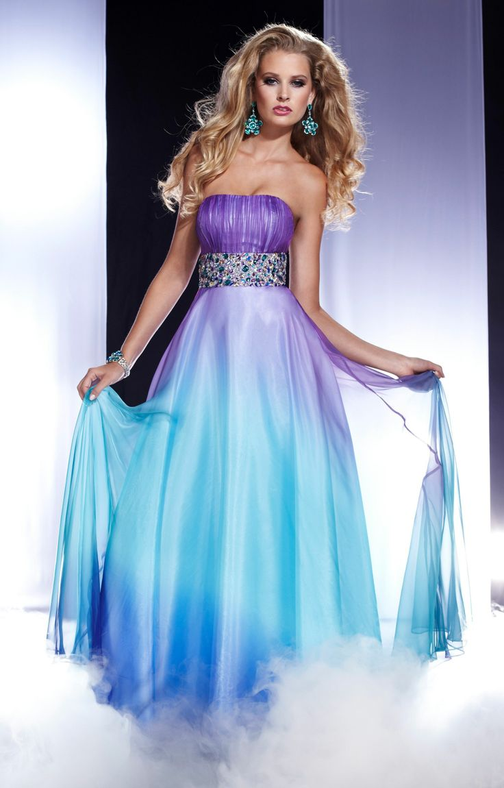 Fantastic A-line Strapless Beaded Muti Color 2013 Long Chiffon Evening Dress/Prom Dress
