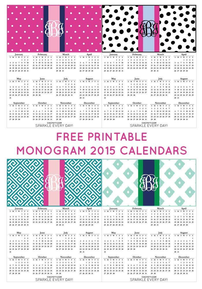 Free Printable Monogram 2015 Calendars from @chicfetti