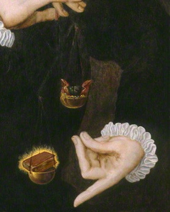 """DETAIL OF PREVIOUS  [REPINNED FROM MY """"ALLEGORICAL BALANCES"""" BOARD] The Latin verse which accompanies this allegorical balance in which literature/learning outweighs worldly vanities, explains that such are gone in the snap-of-a-finger [CREPITVS PRESSO POLLICE] and the unknown ?Flemish artist has shown Chaloner's fingers having just performed such a snap!"""