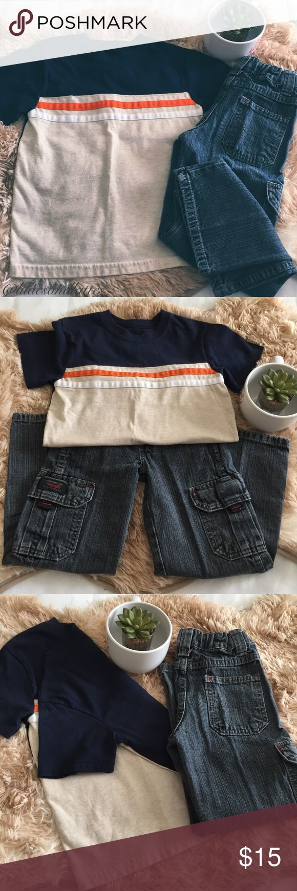 """Boys👦🏼Jeans & Tee Bundle Boys👦🏼Jeans & Tee Bundle in EUC • Both pieces, like new, no flaws • Wrangler Jeans 