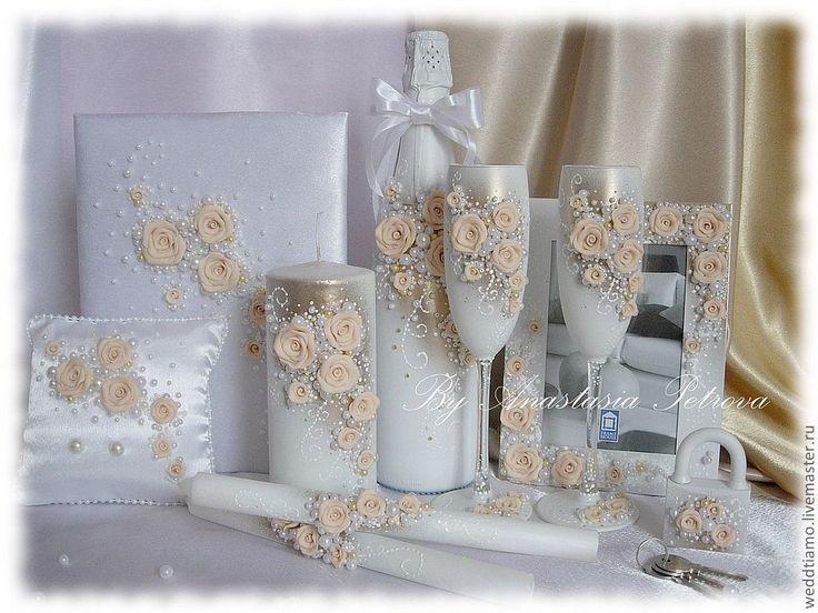 """Купить Свадебный набор """"Изобилие"""" в белом цвете - белый, свадьба, свадебные бокалы, быки, шампанское"""