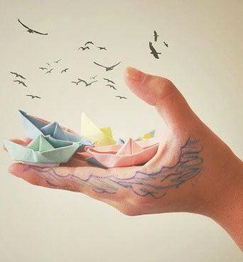 Quiet storm - #paper boats and flying birds.