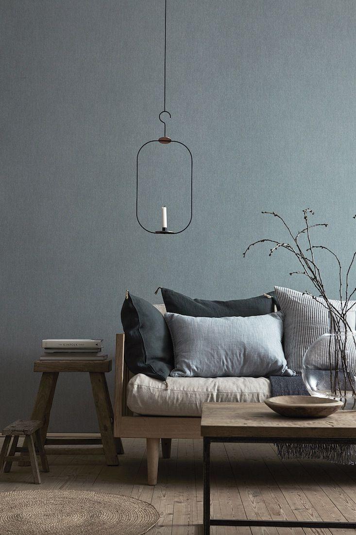 Shadow Blue - 5566 Linen Wallpaper