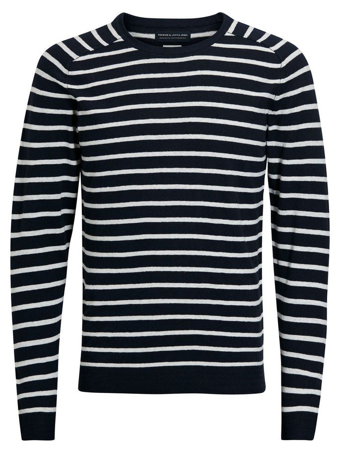 A wardrobe essential: black and white Breton inspired striped knitted pullover, lightweight knot with a soft feel   JACK & JONES #menstyle