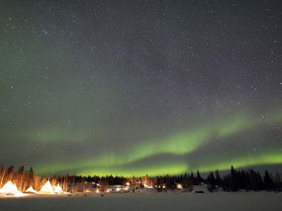 Aurora And Milky Way, Aurora Village, Yellowknife, Northwest Territories, Canada