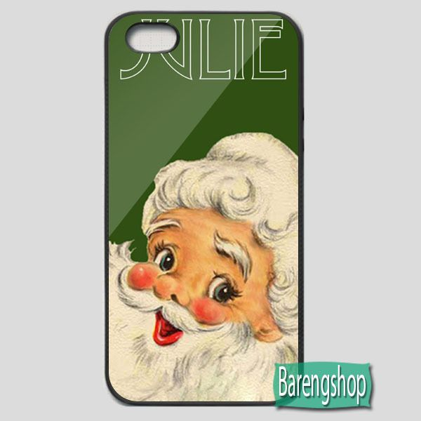Rubber Case Vintage Santa Christmas Phone Case Add Your Name iPhone 5 or 5S