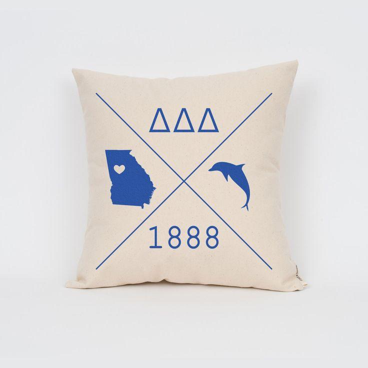 Delta Delta Delta Icons Custom Pillow / Sorority Pillow / Greek Letter Pillow / Sorority Gift / Big Little Gift/ Bid Day Gift by Sororitee on Etsy https://www.etsy.com/listing/202472555/delta-delta-delta-icons-custom-pillow