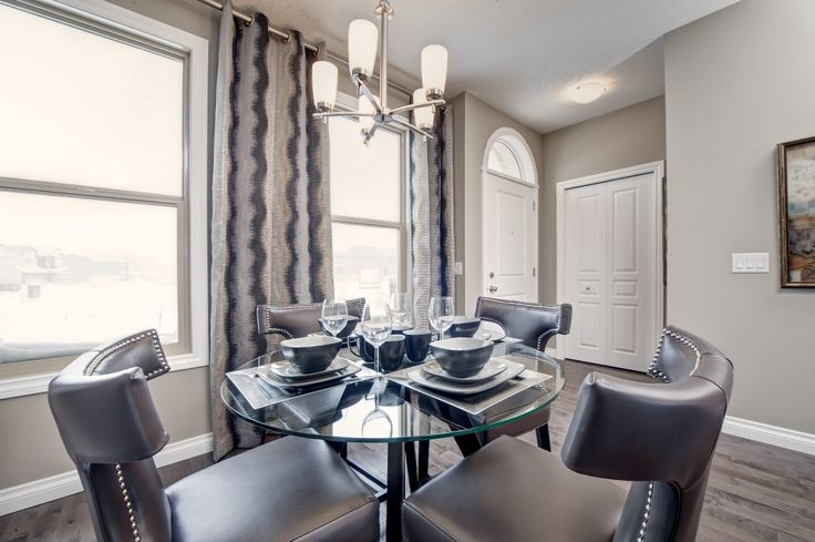 Dining room design from our Roxbury showhome in Brownstones of Sage Meadows, Calgary