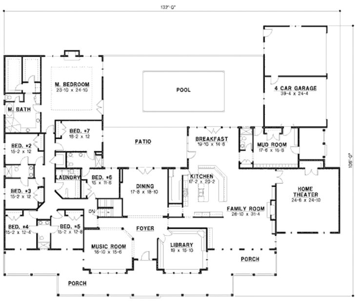 country style house plan 7 beds 6 baths 6888 sqft plan 67 - One Story Country House Plans