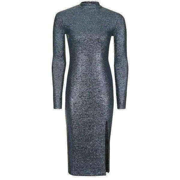 Topshop Foil Spot Midi Dress ($49) ❤ liked on Polyvore featuring dresses, topshop, polka dot midi dress, party dresses, blue dress, blue party dress and polka dot dress