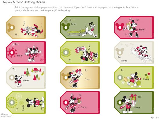 Love Disney! Free gift tag printables (also has Frozen...)