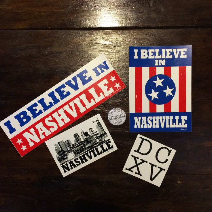 Stickers who doesnt love stickers this pack comes with an i believe in nashville bumper sticker 3x9in a sticker of the iconic original design