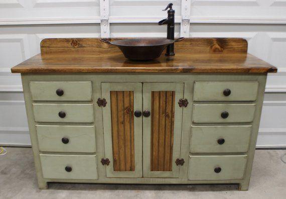 Rustic Farmhouse Vanity Copper Sink 60 Sage Green Etsy Farmhouse Vanity Copper Sink Farmhouse Sink Vanity