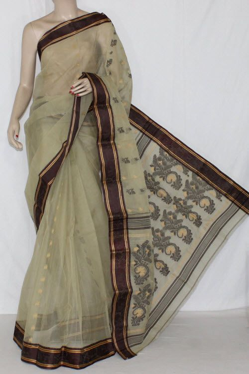 Pista Green Handwoven Bengali Tant Cotton Saree (Without Blouse) 14178 …