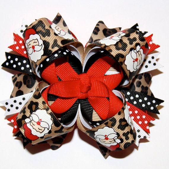 Christmas Holiday Santa Cheetah Leopard Print and Polka Dots Red Black Stacked Hair Bow
