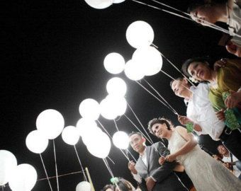 White Led Balloons That Glow Light Up The Sky Sending Your Wishes Birthday Wedding Party