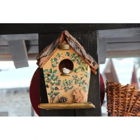 nido per uccellini con erica dipinta birds nest with painted heather