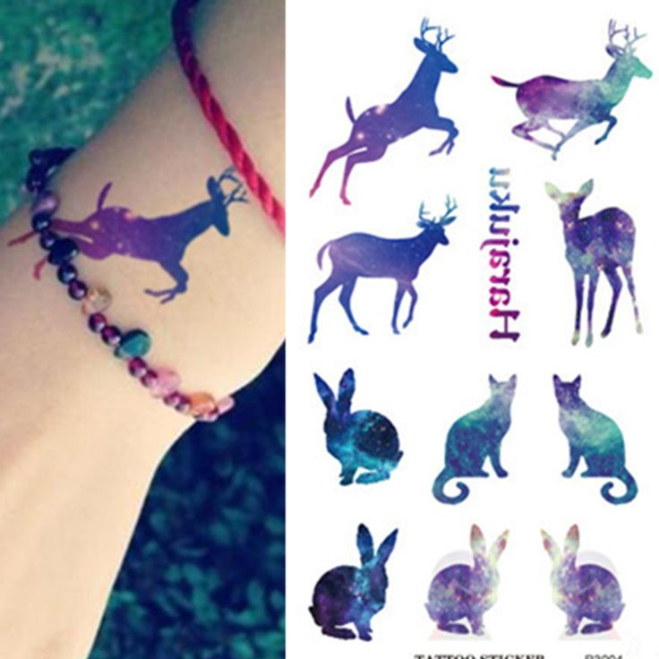 Waterproof 3d Tattoo Sticker Color Runs Elk Rabbit Dog Animals Body Temporary Tattoo Stickers Flash Fake Tattoo Foil Decal 3004(China (Mainland))