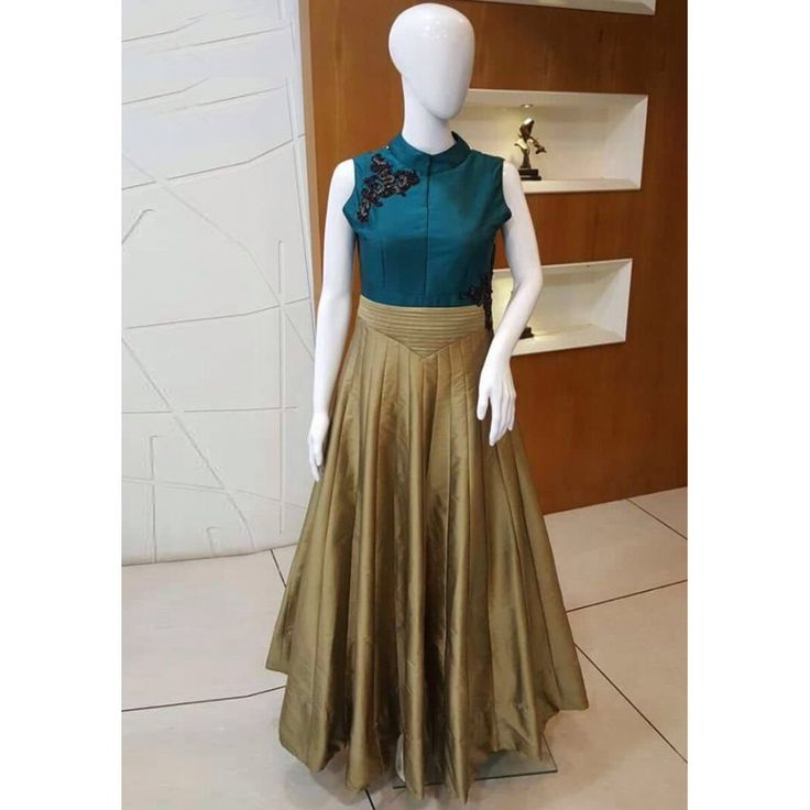 Designer Golden Silk Printed Gown at just Rs.1575/- on www.vendorvilla.com. Cash on Delivery, Easy Returns, Lowest Price.